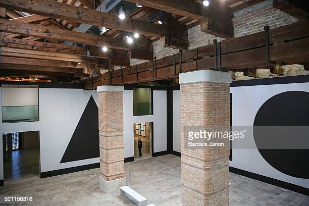 General View of the work of Sol Lewitt during the press opening of 'Accrochage' Exhibition at Punta della Dogana on April 14 2016 in Venice Italy The...