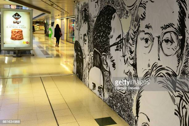 A general view of the work of street artists displayed in the commercial center of Bercy 2 near Paris for the contest of Street Art Anamorphose...