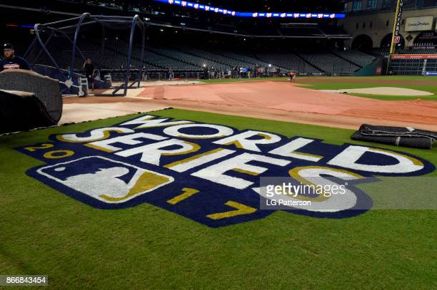 A general view of the World Series logo on the field during the workout day for the 2017 World Series between the Los Angeles Dodgers and the Houston...