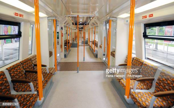 A general view of the 'worm design' carriage in the first of 54 new trains for Transport for London's Overground network which Mayor of London Boris...