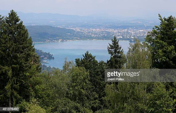 General view of the Worthersee lake with the town of Klagenfurt in the Carinthia region ahead of the 2014 Ironman Austria on June 28, 2014 in...