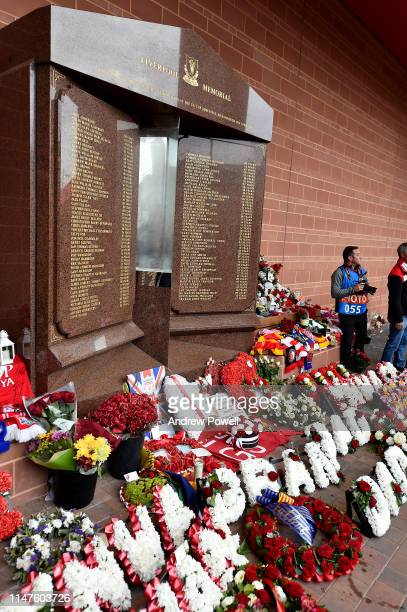 General view of the wreath Josep Maria Bartomeu President of FC lay a at the Hillsborough Memorial before the UEFA Champions League Semi Final second...