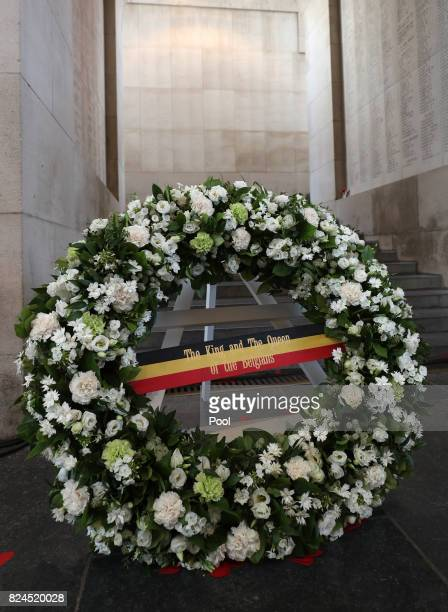 General view of the wreath placed by King Philippe and Queen Mathilde of Belgium at the Menin Gate for the official commemorations marking the 100th...