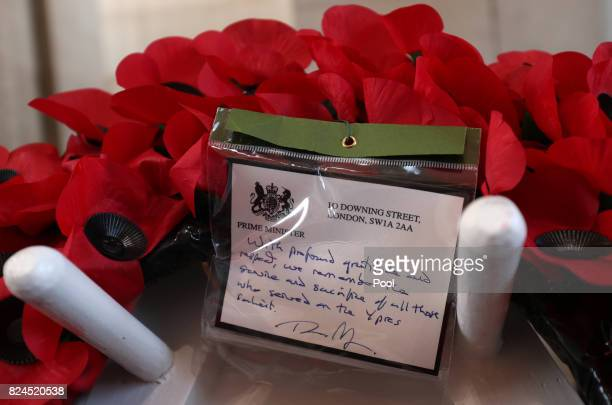 General view of the wreath placed by Prime Minister Theresa May at the Menin Gate for the official commemorations marking the 100th anniversary of...