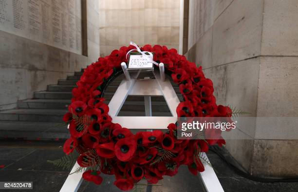 General view of the wreath placed by the Duke of Cambridge at the Menin Gate in Ypres Belgium for the official commemorations marking the 100th...