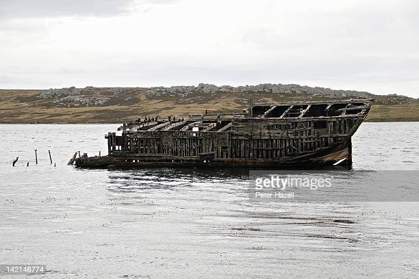 A general view of the wreck of the wooden vessel the Jhelum in Port Stanley harbour on February 21 2012 in Port Stanley Falkland Islands April will...