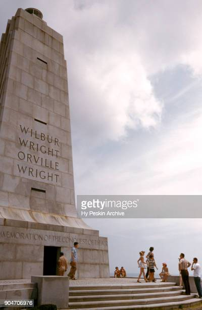 General view of the Wright Brothers National Memorial Monument circa 1953 in Kill Devil Hills, North Carolina. Orville Wright and Wilbur Wright are...