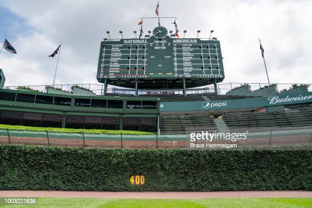 A general view of the Wrigley Field outfield wall and scoreboard prior to the game between the Minnesota Twins and Chicago Cubs on July 1 2018 at...