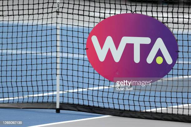 General view of the WTA logo on the net during the Top Seed Open - Day 1 at the Top Seed Tennis Club on August 10, 2020 in Lexington, Kentucky.