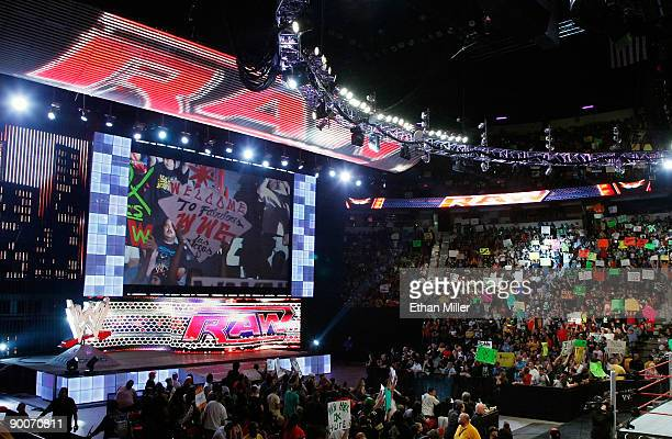 A general view of the WWE Monday Night Raw show at the Thomas Mack Center August 24 2009 in Las Vegas Nevada