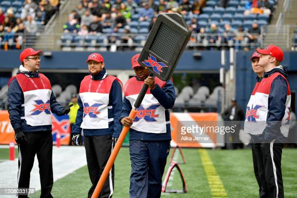 General view of the XFL line crew with the digital yard marker before the game between the Seattle Dragons and the Dallas Renegades at CenturyLink...