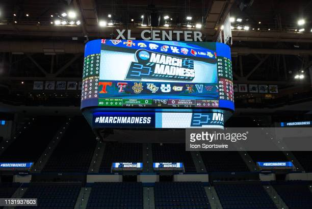 A general view of the XL Center jumbotron during the first round of March Madness on March 21 at XL Center in Hartford CT