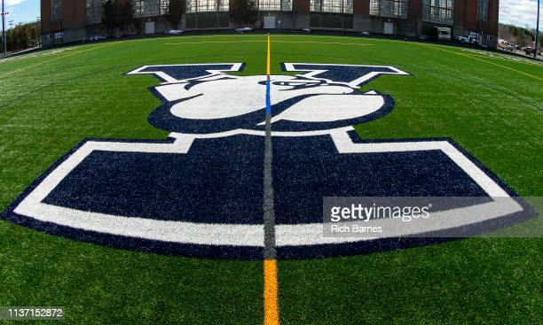 General view of the Yale Bulldogs logo on the field at Reese Stadium prior to the game against the Cornell Big Red on March 16, 2019 in New Haven,...