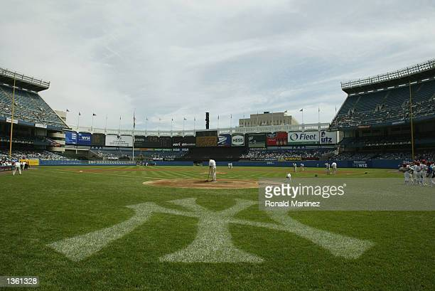 A general view of the Yankee Stadium before the New York Yankees game against the Texas Rangers in the Bronx New York on August 26 2002 The Yankees...