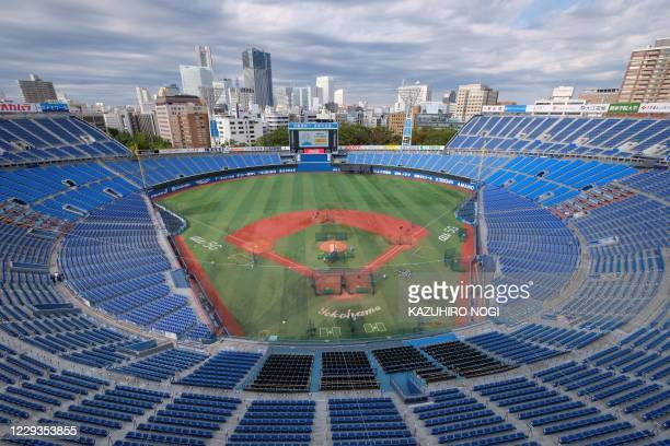 General view of the Yokohama Stadium, which will host baseball and softball games during the Tokyo Olympics, on October 30, 2020 in Yokohama,...