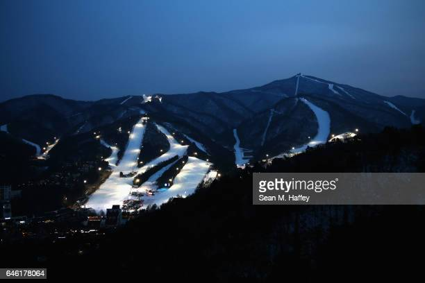 A general view of the Yongpyong Alpine Centre in the Pyeongchang Mountain Cluster host of the Pyeongchang 2018 Winter Olympic Games on February 28...