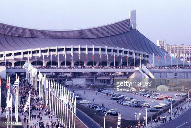 General view of the Yoyogi National Gymnasium during the Tokyo Olympic Games circa October 1964 in Tokyo, Japan.