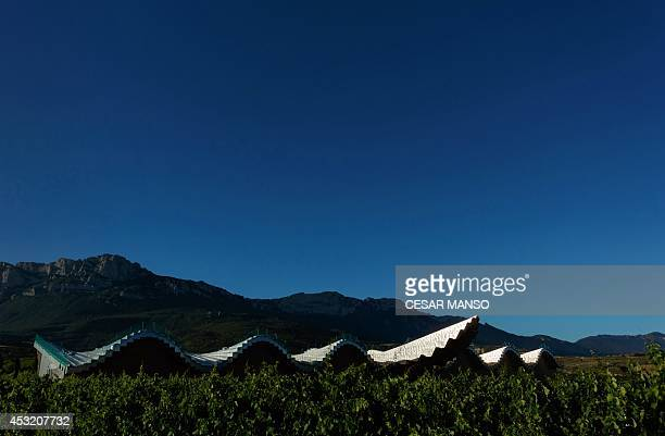 CUZIN General view of the Ysios winery complex designed by Spanish architect Santiago Calatrava and belonging to the Bodegas Domecq at Laguardia near...