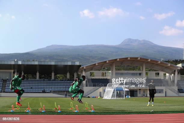 General view of the Zambia training Session with the Hallasan Mountain in the background at Kang Chang Hak Stadium on May 18 2017 in Jeju South Korea