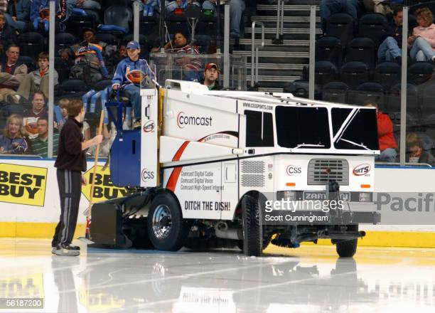 A general view of the Zamboni machine cleaning the ice during the game between the Tampa Bay Lightning and the Atlanta Thrashers on October 29 2005...
