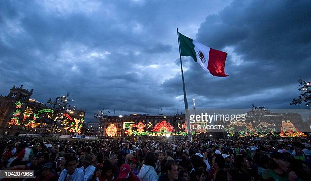 General view of the Zocalo square in Mexico City during the ceremony for the Bicentenary of the country's Independence on September 15 2010 AFP...