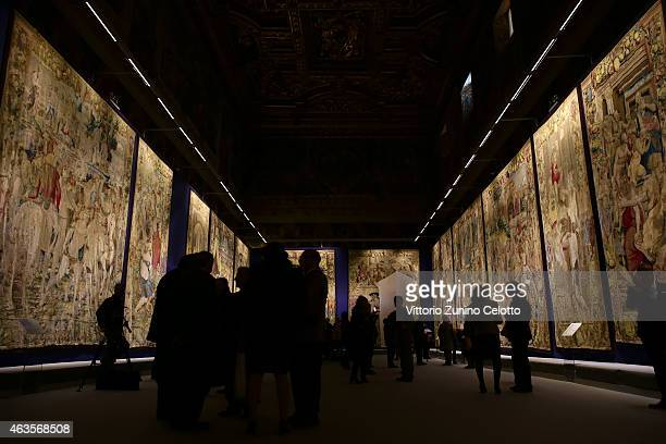 A general view of theatmosphere at the Salone Dei Corazzieri during the 'Il Principe dei Sogni' exhibition preview at Gucci Main Sponsor Arazzi at...