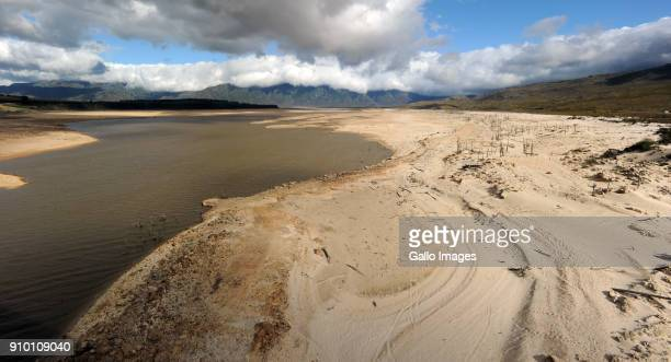 A general view of Theewaterskloof Dam on January 25 2018 in Villiersdorp South Africa Theewaterskloof Dam is the largest dam in the Western Cape...