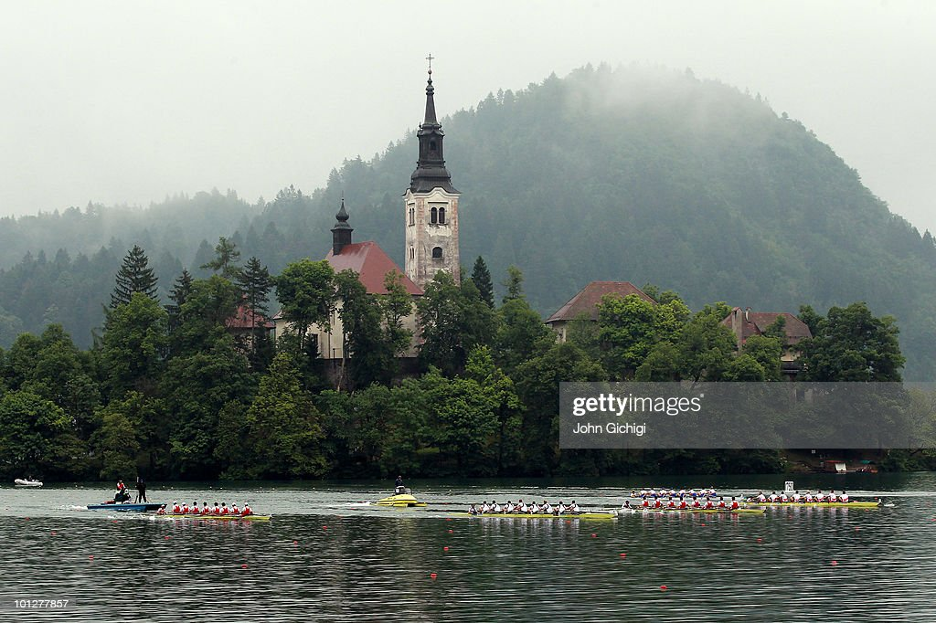 General view of theMen's Eight Final during the 2010 Rowing World Cup on Lake Bled on May 30, 2010 in Bled, Slovenia.
