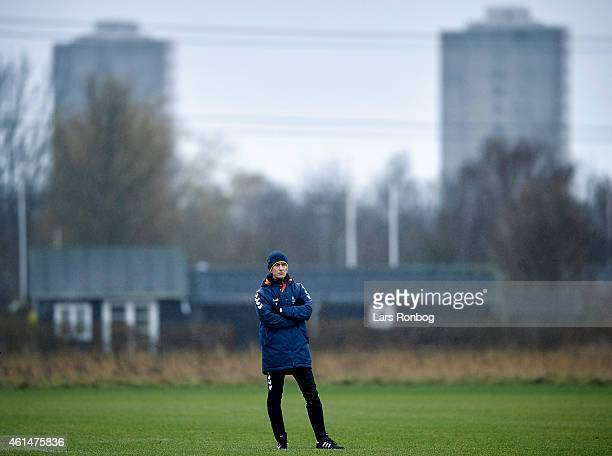 General view of Thomas Frank head coach of Brondby watching his players during the Brondby IF first training session of the year at Brondby Stadion...