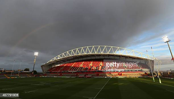 A general view of Thomond Park during the European Rugby Champions Cup match between Munster and Saracens at Thomond Park on October 24 2014 in...