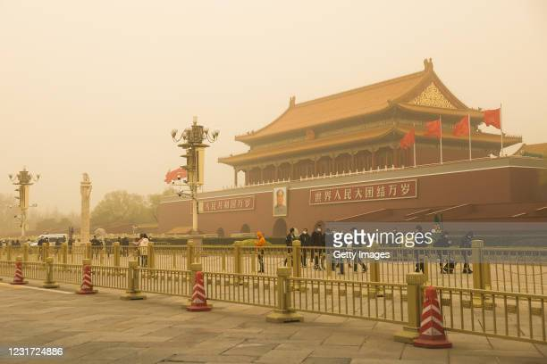 General view of Tiananmen Square shrouded during a sandstorm on March 15, 2021 in Beijing, China. The Chinese capital and the northern parts of the...