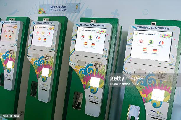 General view of ticket machines during a FIFA venue ticketing centre opening for the 2014 FIFA World Cup at Casarao General Severiano on April 18...