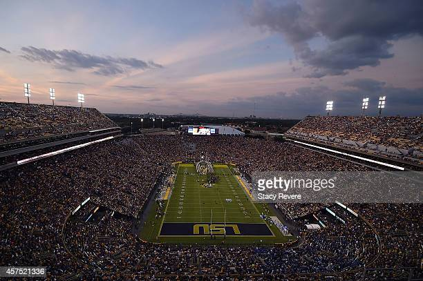 General view of Tiger Stadium as the sun sets prior to a game between the LSU Tigers and the Kentucky Wildcats on October 18 2014 in Baton Rouge...