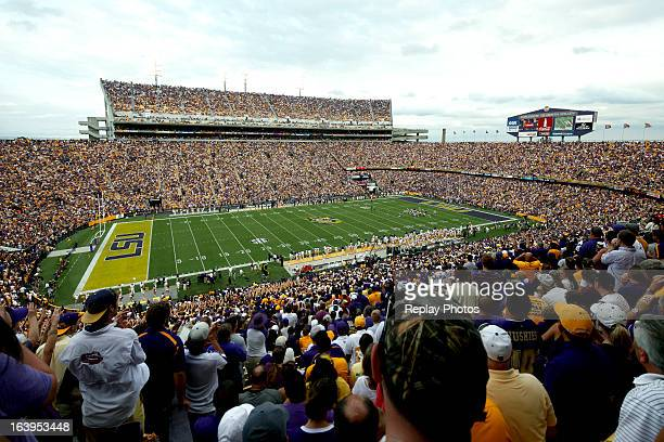 A general view of Tiger Stadium during a game between the LSU Tigers and the Washington Huskies on September 8 2012 in Baton Rouge Louisiana The...