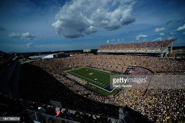 General view of Tiger Stadium during a game between the LSU Tigers and the Florida Gators on October 12 2013 in Baton Rouge Louisiana LSU defeated...