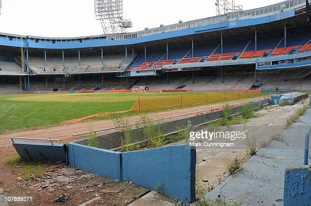 A general view of Tiger Stadium former home of the Detroit Tigers and Detroit Lions during partial demolition performed by a joint venture between...