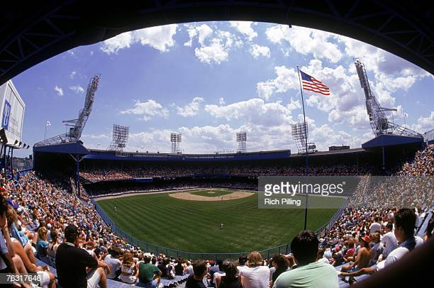 A general view of Tiger Stadium from the outfield seats as the Detroit Tigers host the Kansas City Royals on July 14 1991 in Detroit Michigan The...