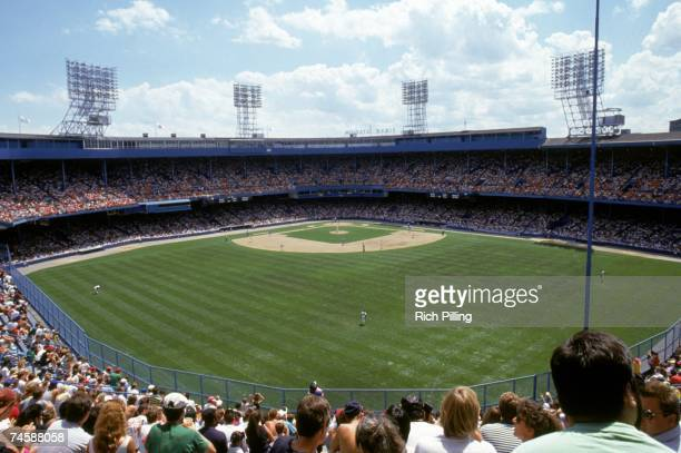 General view of Tiger Stadium from the outfield upper deck seats as the Detroit Tigers host the Kansas City Royals on July 14, 1991 in Detroit,...