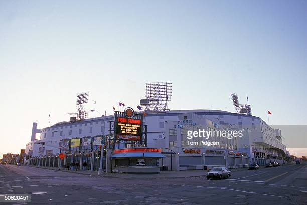 General view of Tiger Stadium from the street outside on Opening Day on April 12, 1999 in Detroit, Michigan. The Tigers lost to the Twins 1-0.