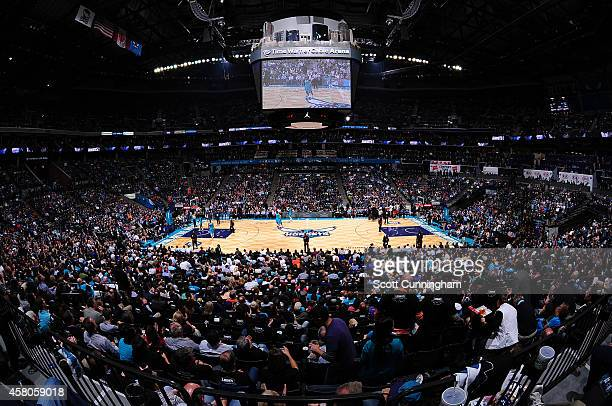 A general view of Time Warner Cable Arena during the game between the Milwaukee Bucks and the Charlotte Hornets on October 29 2014 at Time Warner...