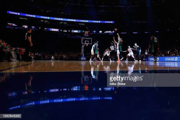 A general view of tipoff between the New York Knicks and the Boston Celtics at Madison Square Garden on October 20 2018 in New York City