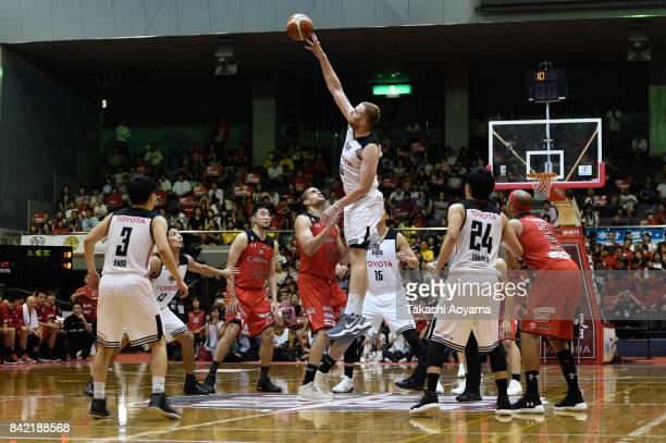 A general view of tipoff during the BLeague Kanto Early Cup final between Alvark Tokyo and Chiba Jets at Funabashi Arena on September 3 2017 in...