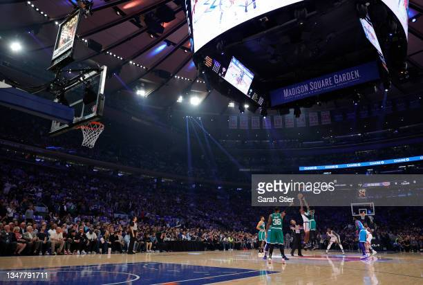General view of tip-off during the first half between the Boston Celtics and the New York Knicks at Madison Square Garden on October 20, 2021 in New...