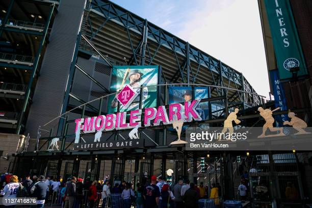General view of T-Mobile Park as seen during a Seattle Mariners game on March 28, 2019 in Seattle, Washington.