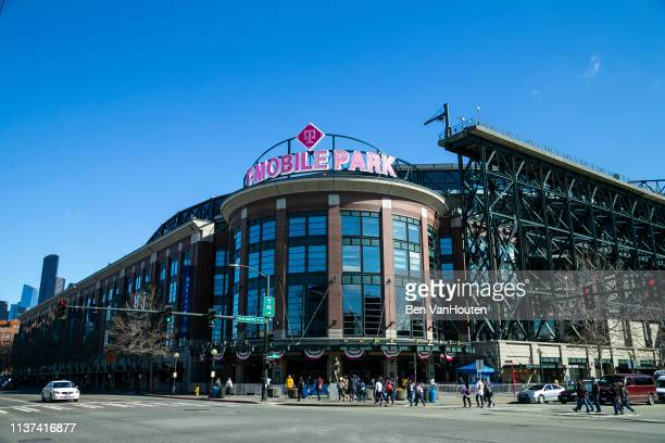 General view of T-Mobile Park as seen during a Seattle Mariners game on March 26, 2019 in Seattle, Washington.