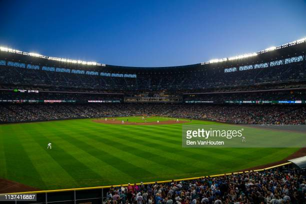 General view of T-Mobile Park as seen during a Seattle Mariners game on March 30, 2019 in Seattle, Washington.