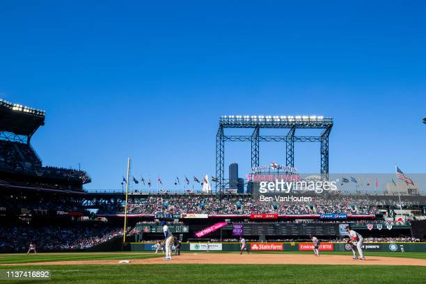General view of T-Mobile Park as seen during a Seattle Mariners game on March 31, 2019 in Seattle, Washington.