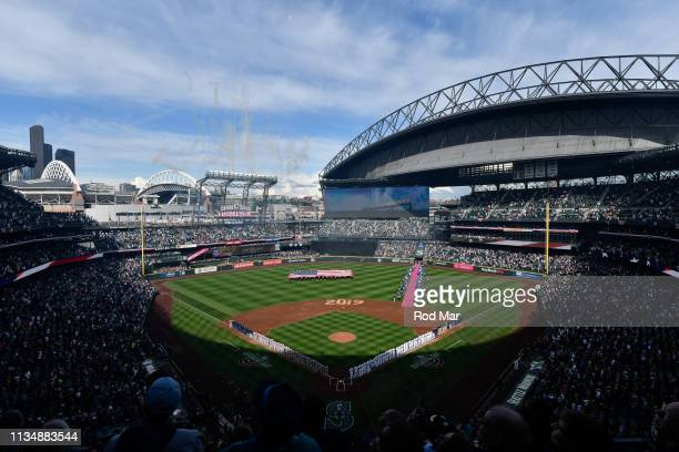 General view of T-Mobile Park during the playing of the national anthem during a game between the Boston Red Sox and the Seattle Mariners at T-Mobile...