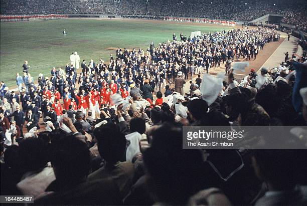 General view of Tokyo Olympic Closing Ceremony at the National Stadium on October 24 1964 in Tokyo Japan