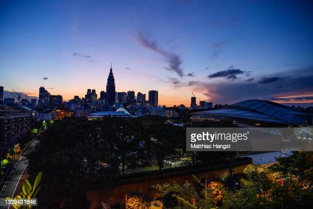 General view of Tokyo skyline during sunset seen from the Olympic Stadium on July 18, 2021 in Tokyo, Japan.